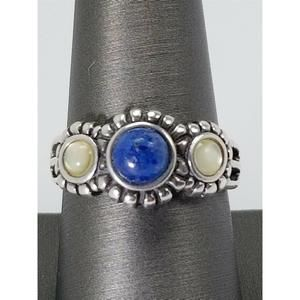 Women's Sterling Silver 925 Ring with Blue & White
